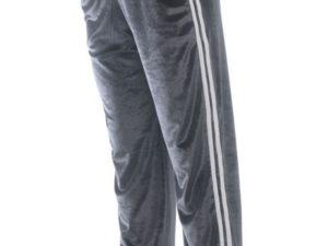 Bodymove Grey Velvet Stripes Βελουτέ Παντελόνι Φόρμα Γκρι