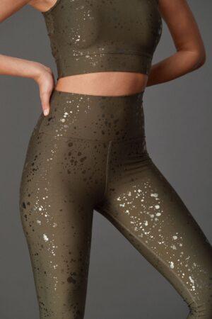 Μονόχρωμο Αθλητικό σετ Fit Olive Shiny Splash Superstacy