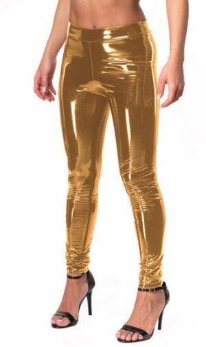 Bodymove Εφαρμοστό Γυναικείο Κολάν Βινύλ Χρυσό