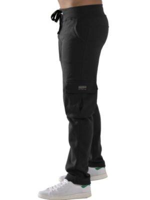 Bodymove Ανδρικό Παντελόνι Ισιο με Στρατιωτικές Τσέπες Μαύρο